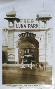 A NSW public servant sent to Melbourne to research the St Kilda Luna Park returned with postcards and a detailed report about the amusement park's architecture and social scene.