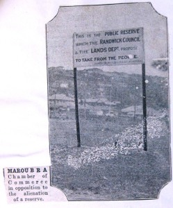 A sign erected in the reserve behind Maroubra Beach in defiance of the government's planned resumption and subdivision c.1928. State Records NSW.